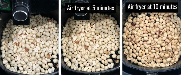 A collage of images showing peanuts being air fried