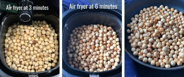 A collage of images showing hazelnuts being air fried