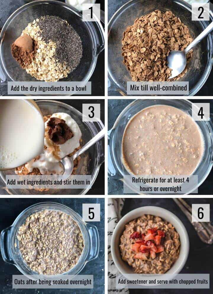 A collage of images showing the steps to make chocolate overnight oats