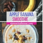 A collage of images showing the ingredients as well as the smoothie