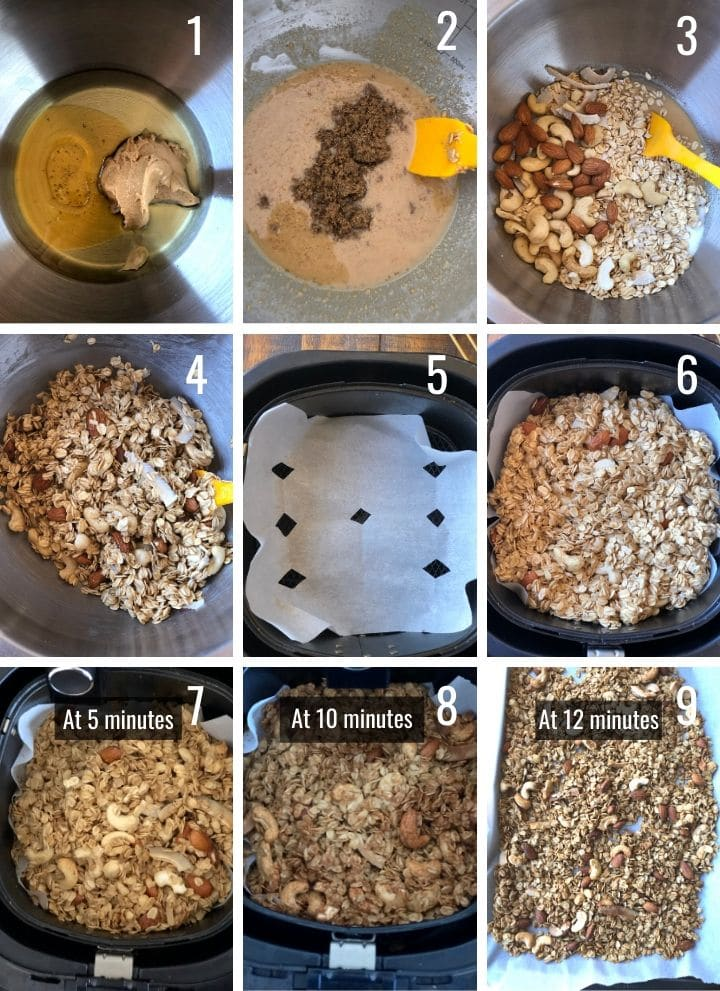 A collage of images showing how to make granola in an air-fryer