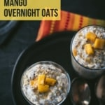 An overhead shot of Mango overnight oats served in glasses