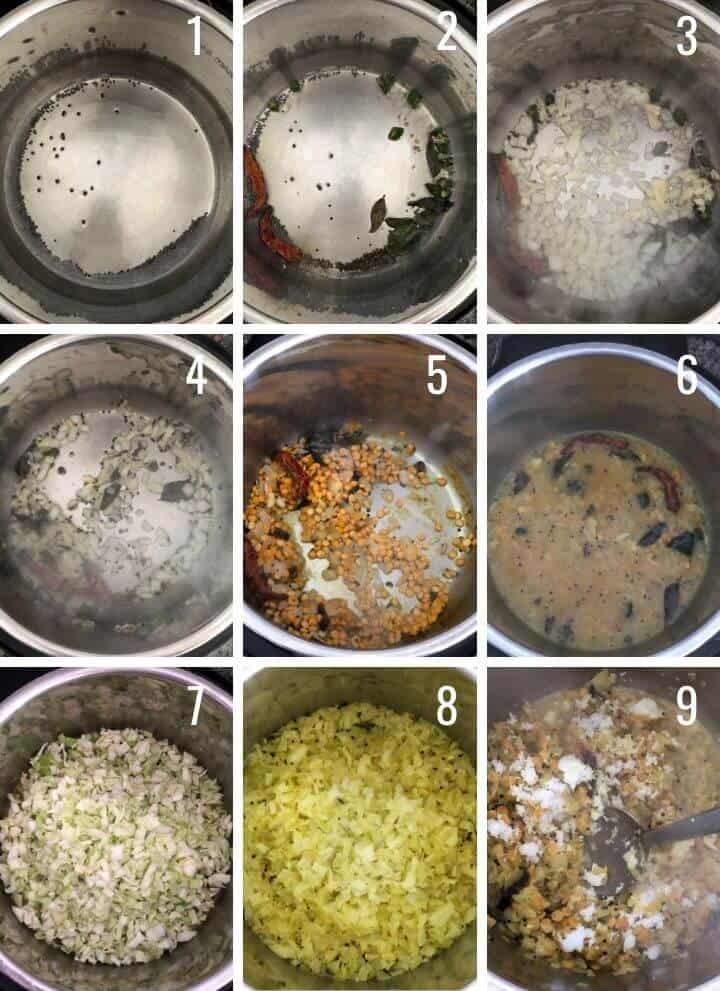 A collage of images showing how to make cabbage kootu using Instant Pot