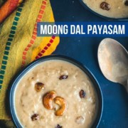 An overhead shot of moong dal payasam served in black bowls