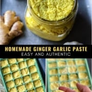 A collage of 3 images which how to store ginger garlic paste in ice cube trays