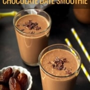 A chocolate date smoothie with a white bowl of dates to the left, yellow and white straws to the right, another chocolate date smoothie behind the first and the words Healthy and Delicious Chocolate Date Smoothie at the top.