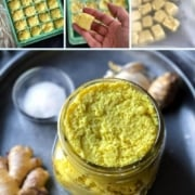 A collage of images showing how to make ginger garlic paste step by step