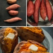 The words Instant Pot at the top in white and the words baked sweet potatoes in yellow with three pictures. The top left picture shows uncooked different sized sweet potatoes, the top right shows sweet potatoes in the instant pot, and the bottom photo shows cooked sweet potatoes at the bottom on a blue plate with butter.