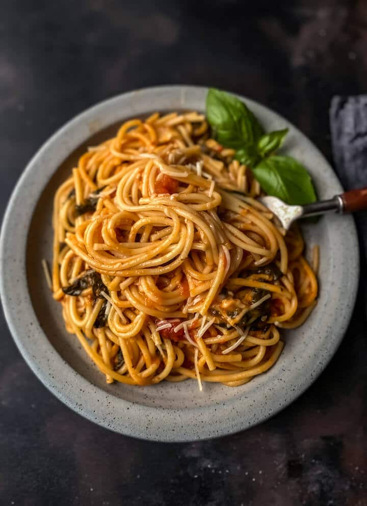 A light grey plate with a pile of instant pot spaghetti and a silver for to the right on a dark grey counter.