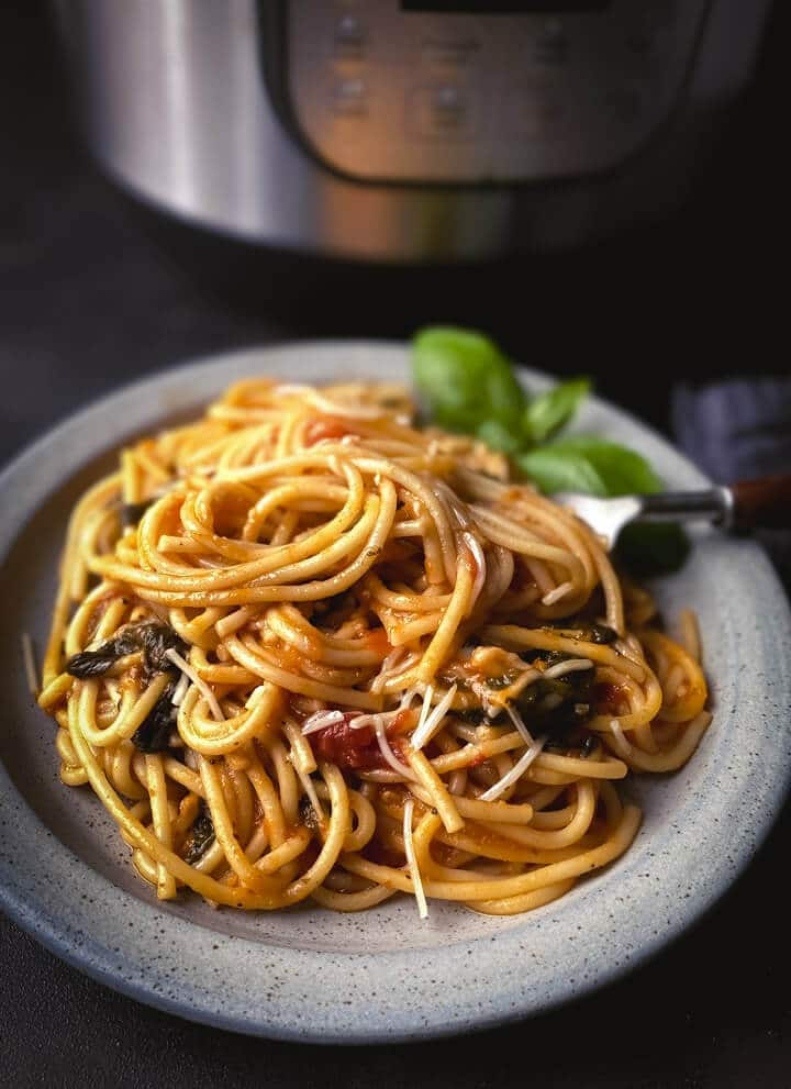 A grey plate with vegetarian spaghetti with a silver fork on the right and basil in the back with the instant pot behind the plate on a dark grey background.