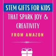 Pink background with caption Stem gifts for kids that spark joy and creativity from Amazon
