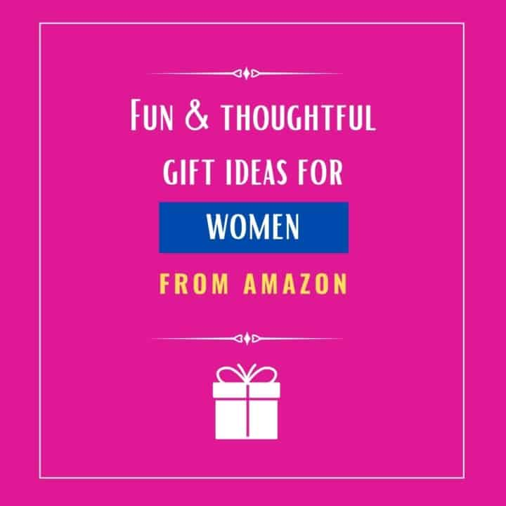 A pink background with caption that reads fun and thoughtful gift ideas for women from Amazon