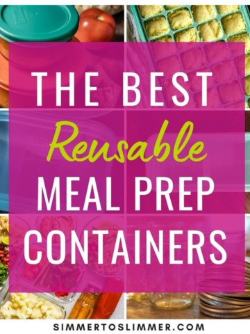 A collage of images with caption - The best reusable meal prep containers