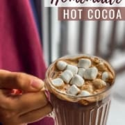 The words Homemade Hot Cocoa in the top right corner with a hand holding a clear glass mug of hot chocolate topped with marshmallows.