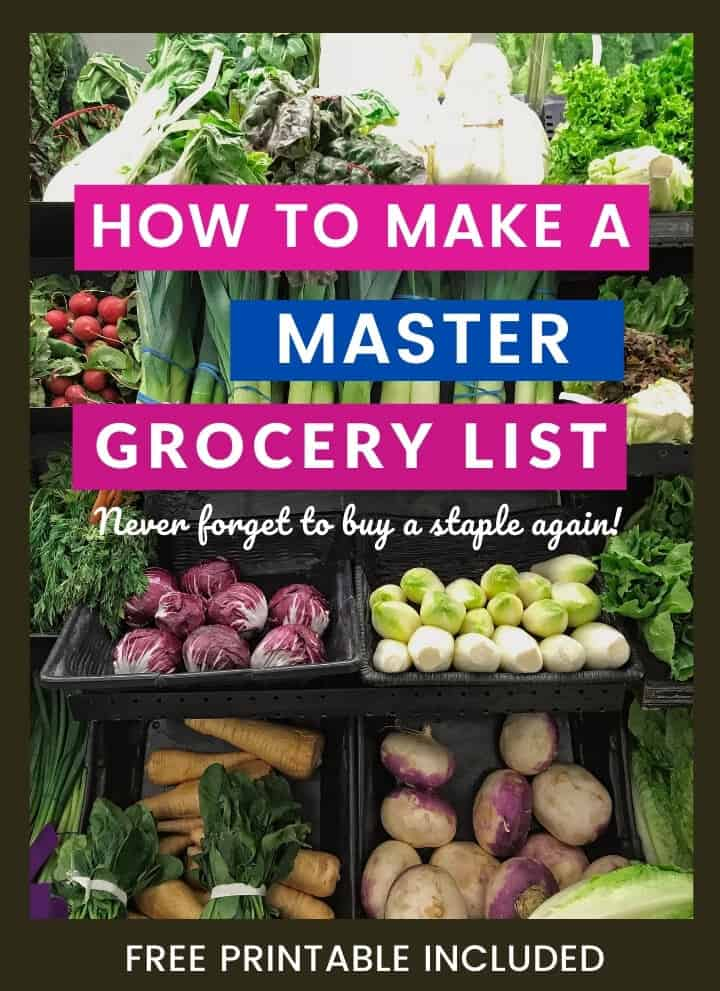 Produce aisle image with caption How to make a master grocery list - never forget to buy a staple again
