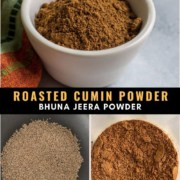A white bowl of roasted cumin powder at the top with the words roasted cumin powder in the middle and two steps of the process at the bottom the roasted cumin seeds in the left and the powder to the right.