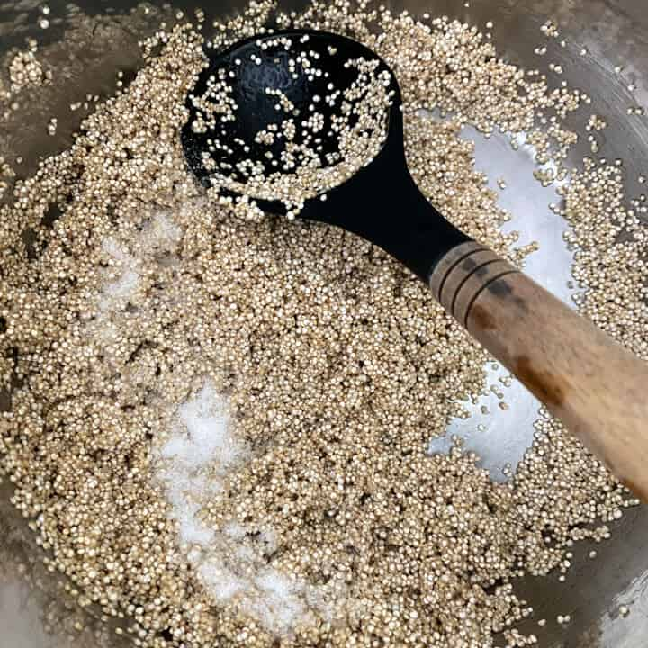 Quinoa being toasted in the ghee in the instant pot.