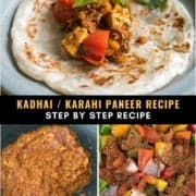 A blue plate with a paratha topped with kadai panner with the words kadhai/ karahi panner recipe step by step recipe in the middle and two side by side pictures of the onion-tomato paste on the left and the spiced bell peppers and onions on the right.