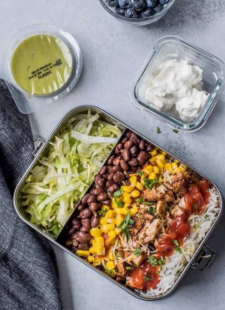 chipotle chicken burrito bowl meal-prep for lunch