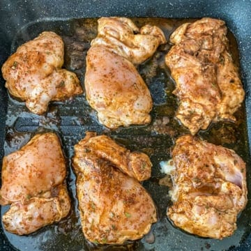 Chicken cooked in a black grill pan