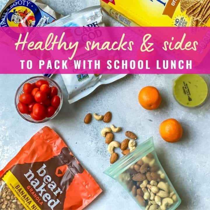 Oranges, nuts, guacamole and other snacks with caption healthy snack and sides to pack with school lunch