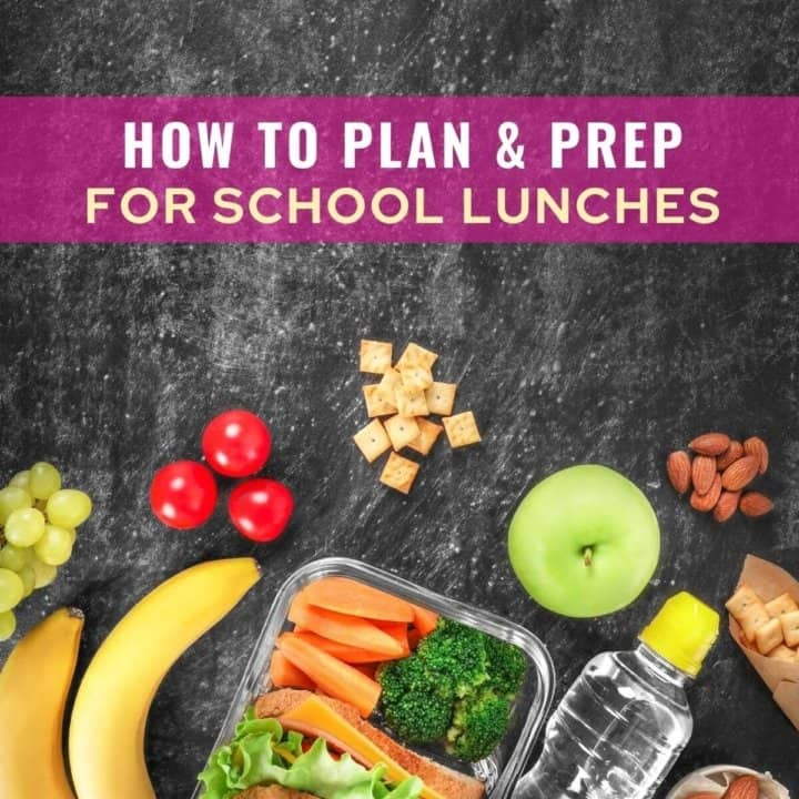 Bananas, lunch box, water on a black surface with caption - how to plan and prep for school lunches