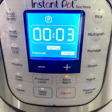 Instant pot set to PRESSURE COOK on HIGH for 3 minutes to cook cilantro lime rice