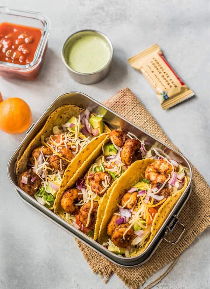 Shrimp Tacos with oranges, cilantro lime creama and larabar on the side